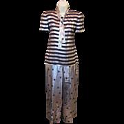 Vintage Designer Gloria Sachs Metallic Silk STARS & STRIPES Shirt & Pant Suit