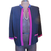 CHANEL Purple Navy Fuchsia Cashmere Cardigan Sweater NWT w/Built in Necklace 42