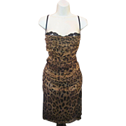 New Deadstock w/ Tags Sexy Silk LEOPARD Print DOLCE GABBANA Bustier Bra Top Wiggle Dress