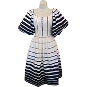 Vintage 80's VICTOR COSTA Navy & White Striped DRAMATIC Full Sleeve Queen of Hearts Tulle Dress
