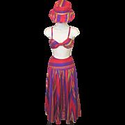 Vintage NWT Ralph Lauren Silk RAINBOW Striped Skirt Bra Top & Sun Hat Summer Set