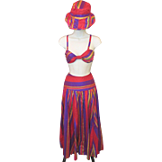 Vintage NWT Ralph Lauren Silk RAINBOW Striped Skirt Bra Top & Sun Hat Summer Set