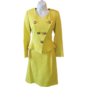 Vintage 80's CHRISTIAN LACROIX Abstract HEART Yellow Jacquard Wool Jacket Skirt