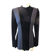 Vintage NINA RICCI 2 Tone Black Wool & Silk VELVET Space Age Mod Style Shirt Top