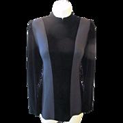 Vintage NINA RICCI 2 Tone Black Wool & Silk VELVET Space Age Mod Style Shirt Top