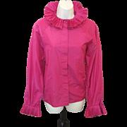 Vintage CHLOE Bright Fuchsia Silk AVANT GARDE Victorian Style Ruffled Shirt Top Blouse