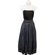 Vintage LOUIS FERAUD Black Velvet & Taffeta Strapless Evening Dress Designer Gown