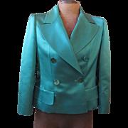 Emerald Green Silk Satin Coco CHANEL Blazer Jacket 42 w/Hanger & Extras