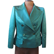 Emerald Green Silk Satin Coco CHANEL Blazer Jacket 42 w/Hanger & Extras
