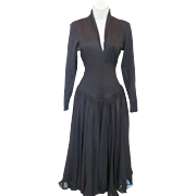 Dramatic Black Norma KAMALI Long Sleeve Gothic AVANT GARDE Queen Fit & Flare Dress w/High Neckline