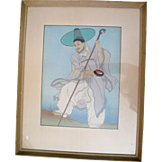 Signed PAUL JACOULAT Japanese Woodblock Framed Print Wandering Buddhist Priest