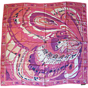 NWT Vintage EMILIO PUCCI Signed Butterfly Wing Pink Silk Large Scarf 33 X 35