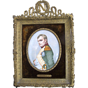 Antique 19c NAPOLEON Bonaparte Miniature Hand Painted Portrait Gold GILT Frame