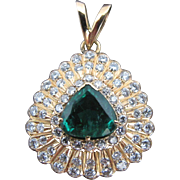 Natural Green EMERALD & Diamond Triangular 14k Yellow Gold Necklace Pendant