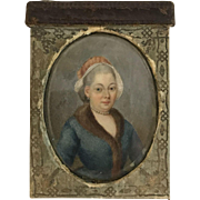 Antique 19th Century Miniature Hand Painted PORTRAIT of a Lady InTooled  Leather Travel Case