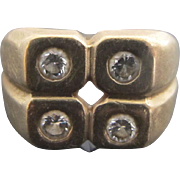 Unisex 14k Yellow Gold Diamond Cubes MODERNIST Ring 8.25