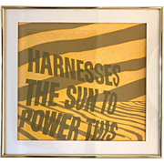 SISTER CORITA Kent Signed Framed Serigraph HARNESS the SUN to Power This 1967