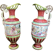 Antique FRENCH 19th Century Set of 2 Large Fine Majolica BACCHANAL Pitcher Ewers