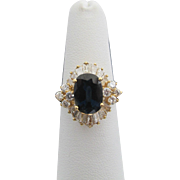 Stunning Natural Blue SAPPHIRE Brilliant Cut DIAMOND 18k Yellow Gold Ring 6.5