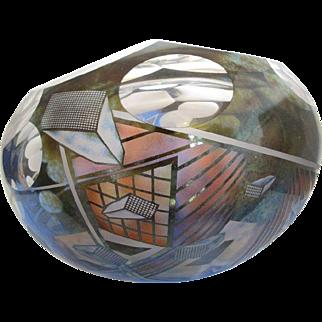 Washington PIlchuck Artist DAVE SCHWARZ Hand Cut V-AXIS Series GEOMETRIC Bowl