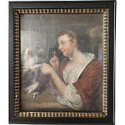 Antique 17th Century Framed GERMAN Portrait of WOMAN Scolding DOG Oil Painting
