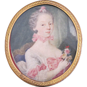 RESERVED for DAVID Antique Finely Painted Miniature PORTRAIT of Woman w/Bouquet of Flowers