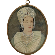 Antique PORTRAIT Miniature WEALTHY WOMAN w/Elaborate Headdress Pearls Collar