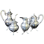 Fine .800 GERMAN SILVER 4pc Coffee Tea Creamer Sugar Set w/Duck Acorn Leaf Detail