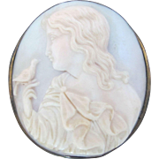Vintage Finely Carved Pale Blue CAMEO Brooch Pin Woman Silhouette with BIRD