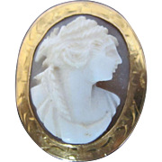 Vintage Finely Carved Agate CAMEO Silhouette 14k Brooch Pin or Pendant