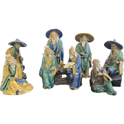 Hand Painted Set of 7 CHINESE Asian MUDMAN Miniature Figurine