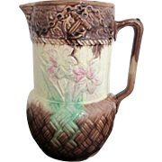 Antique Majolica 19th Century Pink Green Floral Anchor Basket Weave Pitcher Jug