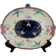Antique 19th Century Blue & Yellow Flowers & Bows Majolica Serving Dish Plate