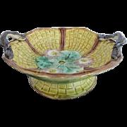 Late 1800's Floral Majolica Compote Pedestal Bowl Basket w/Serpent Bird Handles