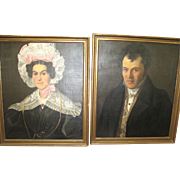 Antique 1800's French Ancestor Set of 2 Portrait of Lady & Gentleman Oil Paintings