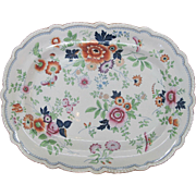 Antique GAUDY WELSH Colorful Butterfly Flower Garden Large Platter Tray