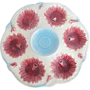 Bright Turquoise & Red Floral Majolica Antique Oyster Serving Dish Plate