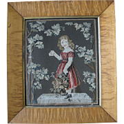 Tiger Maple Framed 19th Century Needlepoint of Girl in Red Dress
