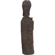 TALL 18th Century Santos Carved Wood ST PETER Icon w/Key Carving Statue Spanish