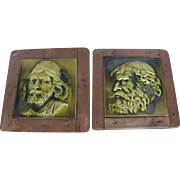 Antique c1890 Set of 2 English Wood Framed Unique Raised Figural Pottery Tiles