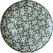 """Vintage Large Green & Yellow Daisy Flower Majolica Serving Plate Dish 14 1/2"""""""
