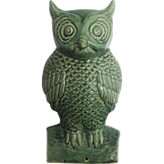 Antique French Majolica Large Green Perched Owl Figurine Sculpture
