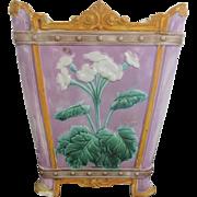 Antique Lilac Majolica Crown Rim Large Flower Vase Planter Pot
