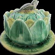 Green Antique Majolica Artichoke Cheese Dip Serving Bowl w/Bird Finial