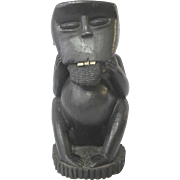 Large Carved EBONY WOOD Primate Monkey with Teeth African FOLK ART Sculpture