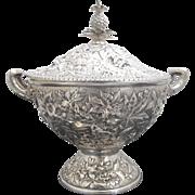 STERLING Silver c1880 KIRK & SON Repousse Bowl w/Pineapple Finial Soup TUREEN 72oz