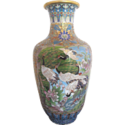 "Chinese Large 16"" Cloisonne Vase w/CRANES & Flower Blossoms"