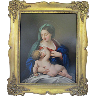 Antique 1843 RELIGIOUS Oil Painting Mother MADONNA Breast Feeding Holy Child