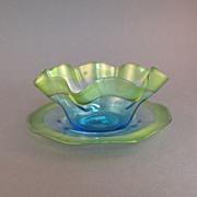 Stevens & Williams art glass finger bowl and plate, green on blue