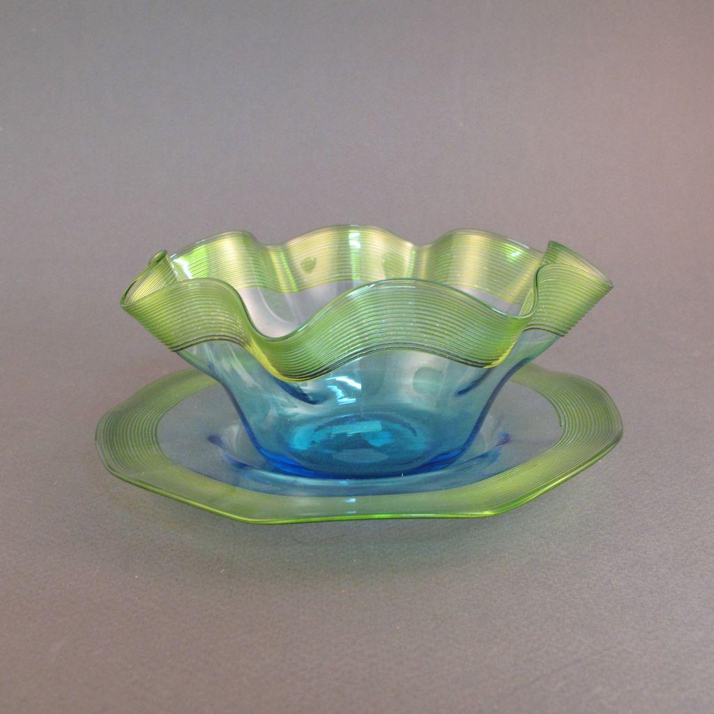 Stevens Amp Williams Art Glass Finger Bowl And Plate Green